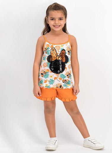 Minnie Mouse  Lisanslı Turuncu Kız Çocuk Şort Takım Oranj